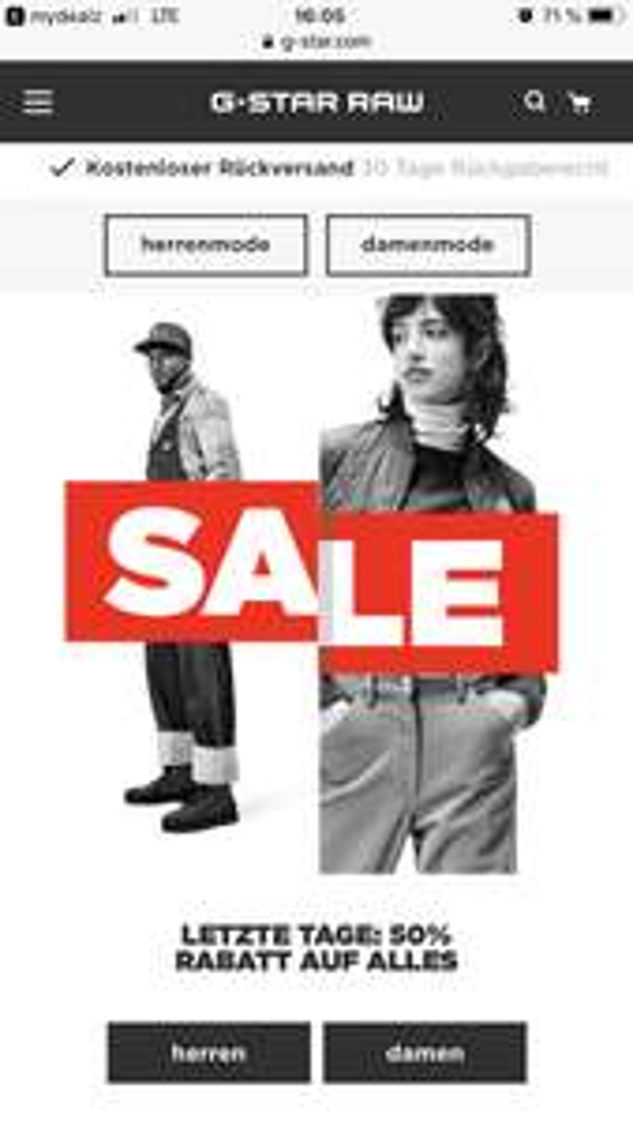 G-Star Sale: 50% auf alle Sale Artikel