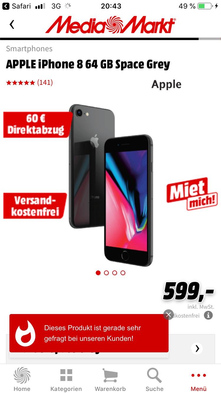 iPhone 8 64gb bei Mediamarkt für 539€