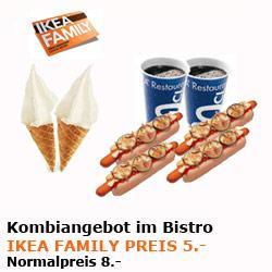[IKEA-FAMILY Würzburg] Kombi-Angebot 4 Hot-Dogs, 2 Getränke und 2 Softeis für 5 €