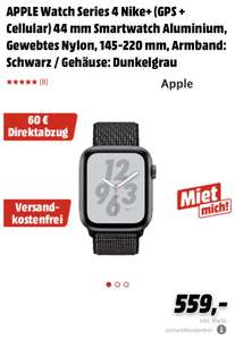 Apple Watch 4 mit Direktabzug (30€/60€/90€), z.B. Nike, grau, Loop, 44mm mit Cellular