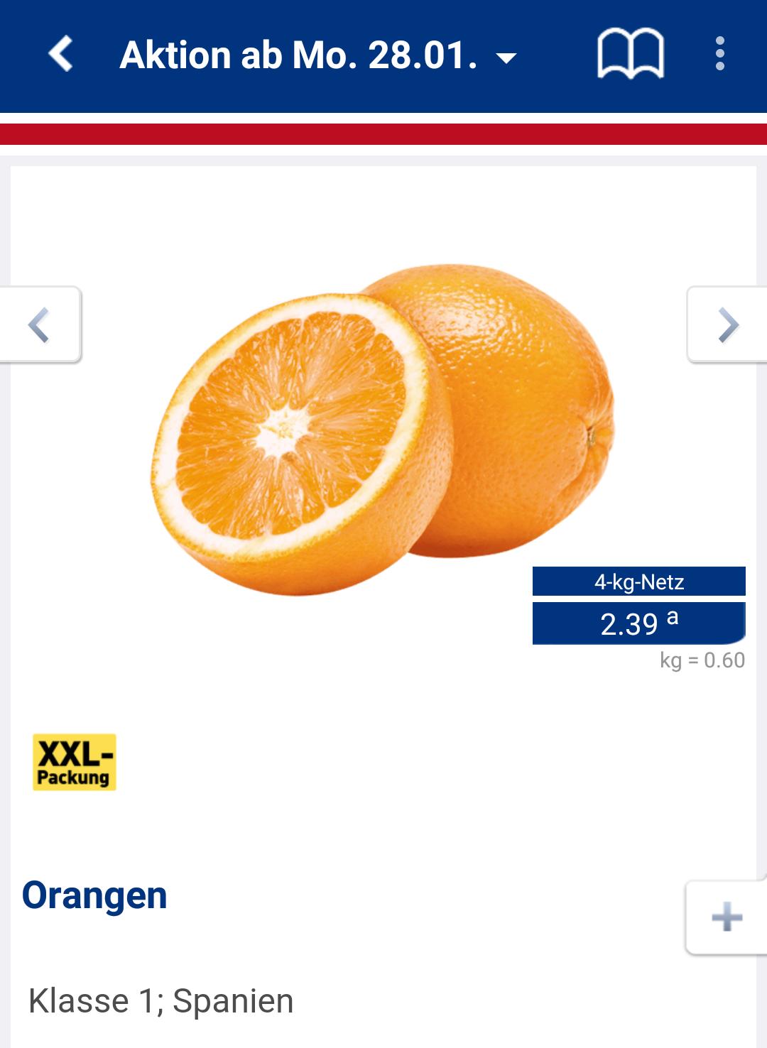 Orangen 0,60€ / kg. Perfekt für frischen O-Saft