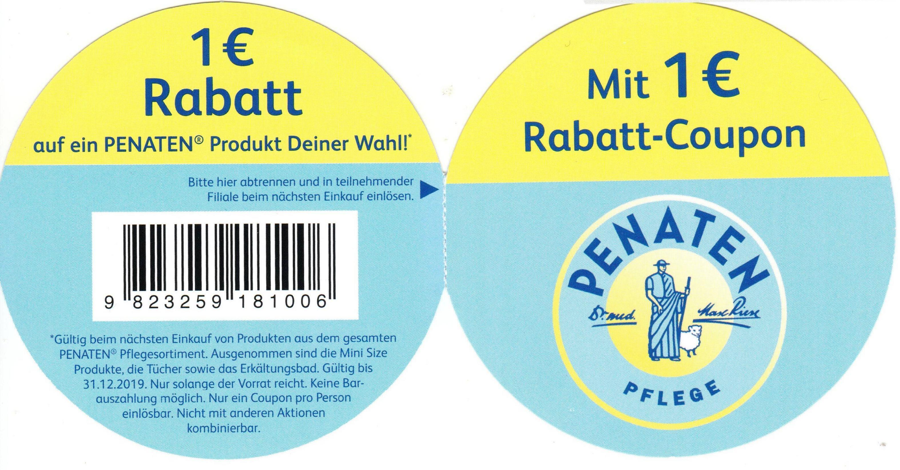 1€ Sofort-Rabatt Coupon für den Kauf von einem Penaten Produkt nach Wahl [bundesweit bis 31.12.2019]