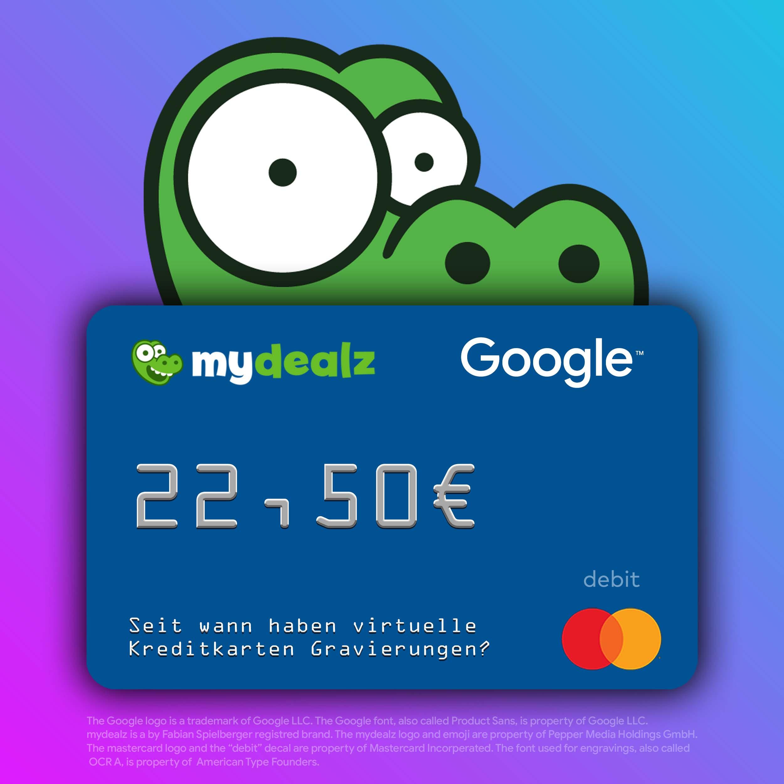 Durch Umfrage von Google virtuelle Mastercard mit 22,50€ Guthaben kassieren