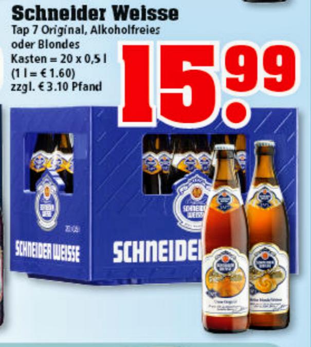 [ggf. lokal][Trinkgut] Kasten Schneider Weisse für effektiv 11,19€ durch Cashback