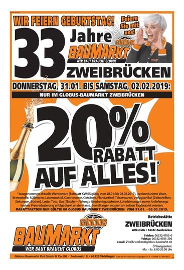 [Lokal] Globus Baumarkt Zweibrücken 20% Rabatt auf (fast) alles vom 04.03. - 05.03.2019