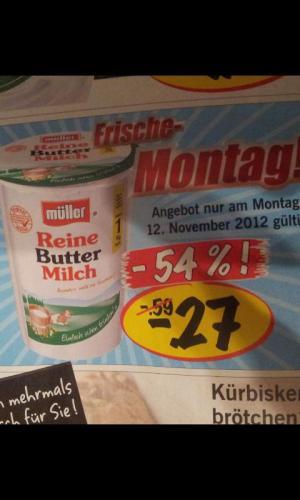 [LIDL]Reine Buttermilch von Müller für 27 Cent!