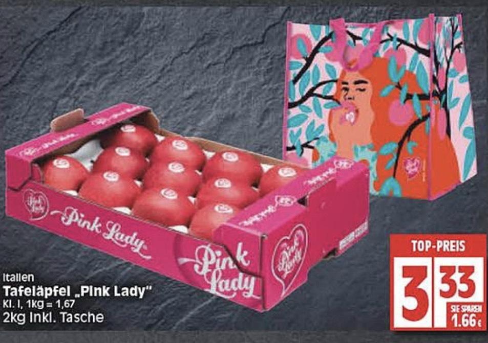 [Lokal] Pink Lady Äpfel 2kg + modische Tragetasche [WEZ + Edeka Lokal]