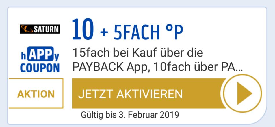 [PayBack / Saturn] 15-fach Punkte (7,5%) in der App