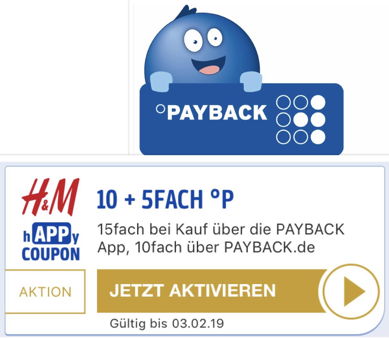 15-fach Payback Punkte bei H&M - entspricht ca. 7,5% Ersparnis