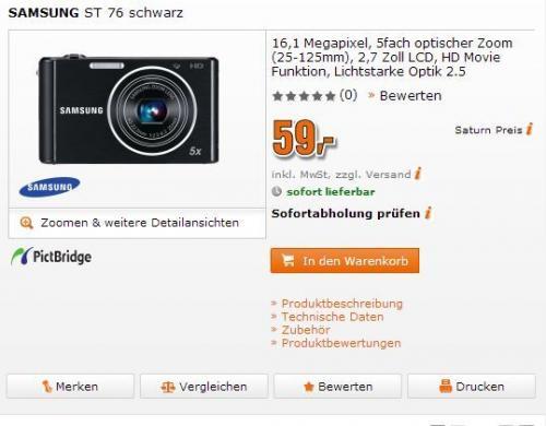 [SATURN]  Samsung ST76 Digicam 59€ -> Idealo 81,90€