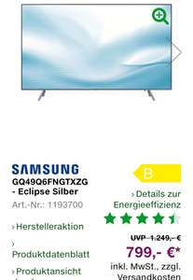 Lokal: Samsung QLED Fernseher