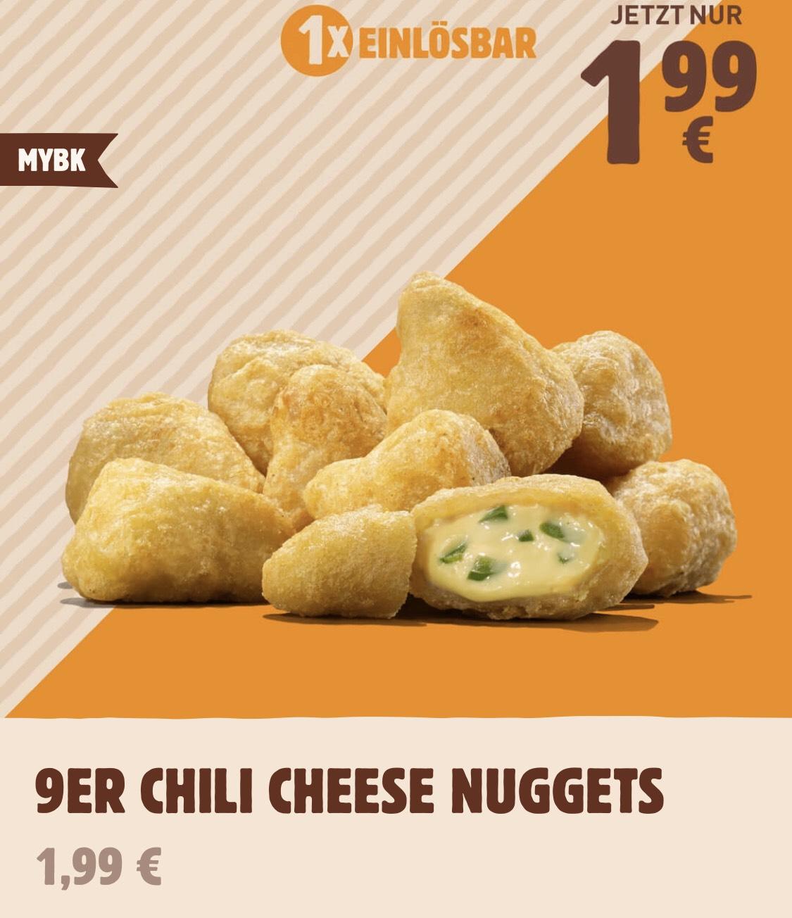 9 Chili Cheese Nuggets für 1,99€ (nur 22 Cent je Nugget) bei Burger King (mit Anmeldung bei MYBK)