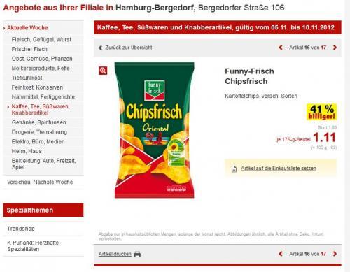 [LOKAL HH]? FunnyFrisch Chipsfrisch z.B. Peperoni 175g Kaufland 1,11€