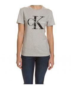Calvin Klein T-Shirt, Rundhals, taillierter Schnitt, Grigia