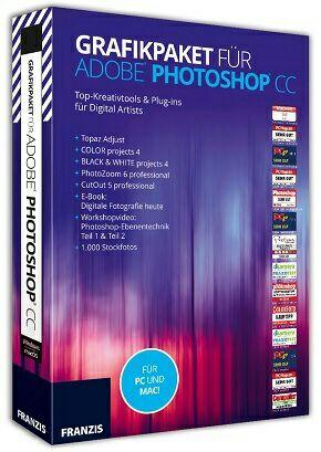Grafik Software-Paket von Franzis (PS Plugins, Software, eBook + Stockfotos)