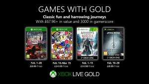 (Games with Gold Februar) Super Bomberman R,  Bloodstained: Curse of the Moon, Assassin's Creed: Rogue, Star Wars Jedi Knight: Jedi Academy