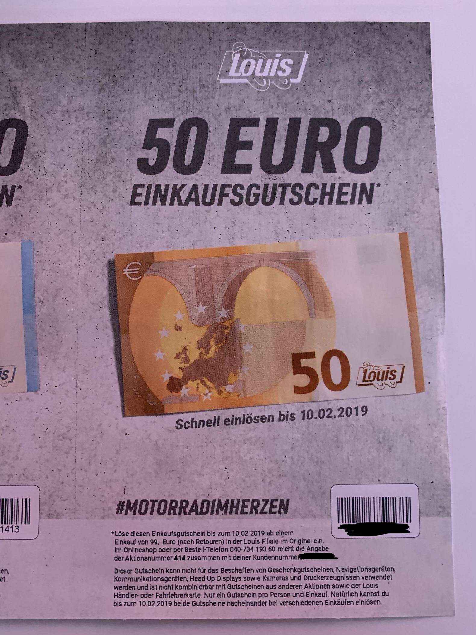 Louis Motorrad 50€ Rabatt ab € 99,- in der Filiale # Katalog Gutschein Fehler