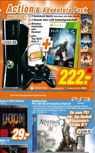 Xbox 360 S 250 GB 3 Download-Spiele + Halo 4 für 222€ [lokal+offline]
