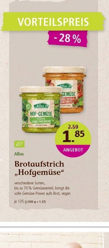 Denns biomarkt - Brotaufstrich von Allos Hofgemüse - Deutschlandweit in jedem Denns