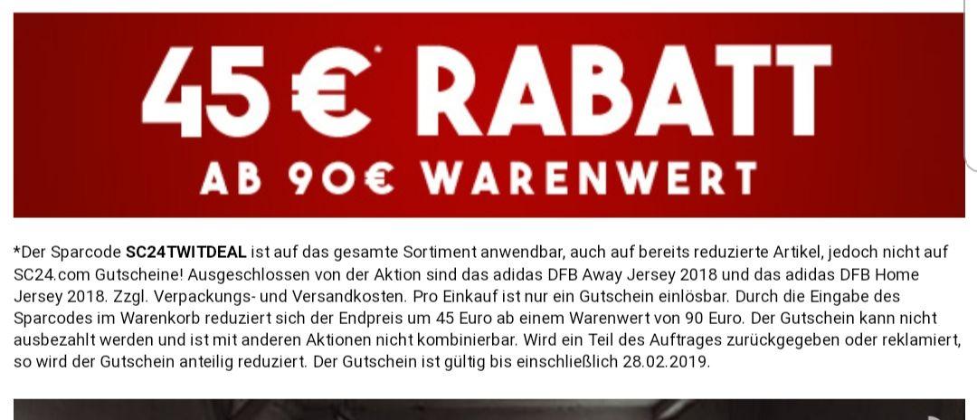 Sc24.com 45 € Rabatt an 90 € Einkaufswert auf das gesamte Sortiment.