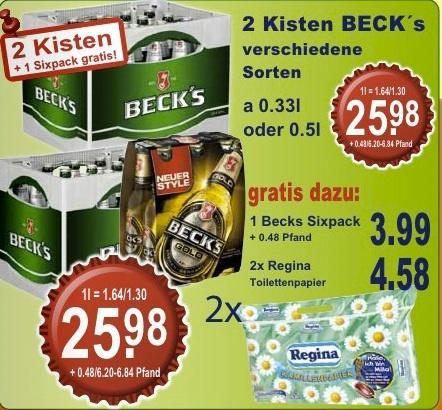 2 Kisten BECK's + 1 Sixpack BECK's + 2x Regina Toilettenpapier @ K+K (12. - 17.11.2012)