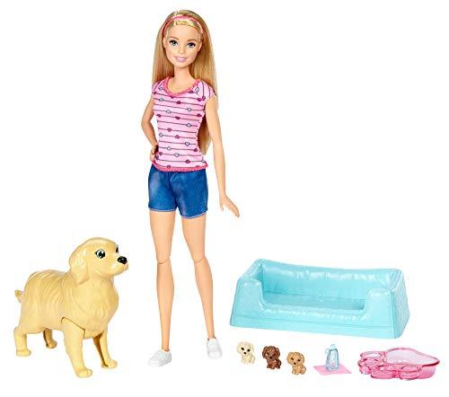Barbie FDD43 - Hundemama mit Welpen und Puppe