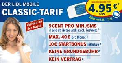 [Lidl] Lidl Mobile Classic Tarif SIM Karte 4,95 €  ( inkl. € 10 Startguthaben)