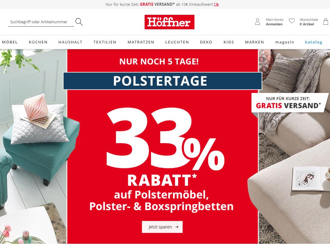Höffner Polstertage Sammeldeal - noch 33% auf viele reduzierte Polstermöbel, Polsterbetten & Boxspringbetten - Gratis Versand dazu