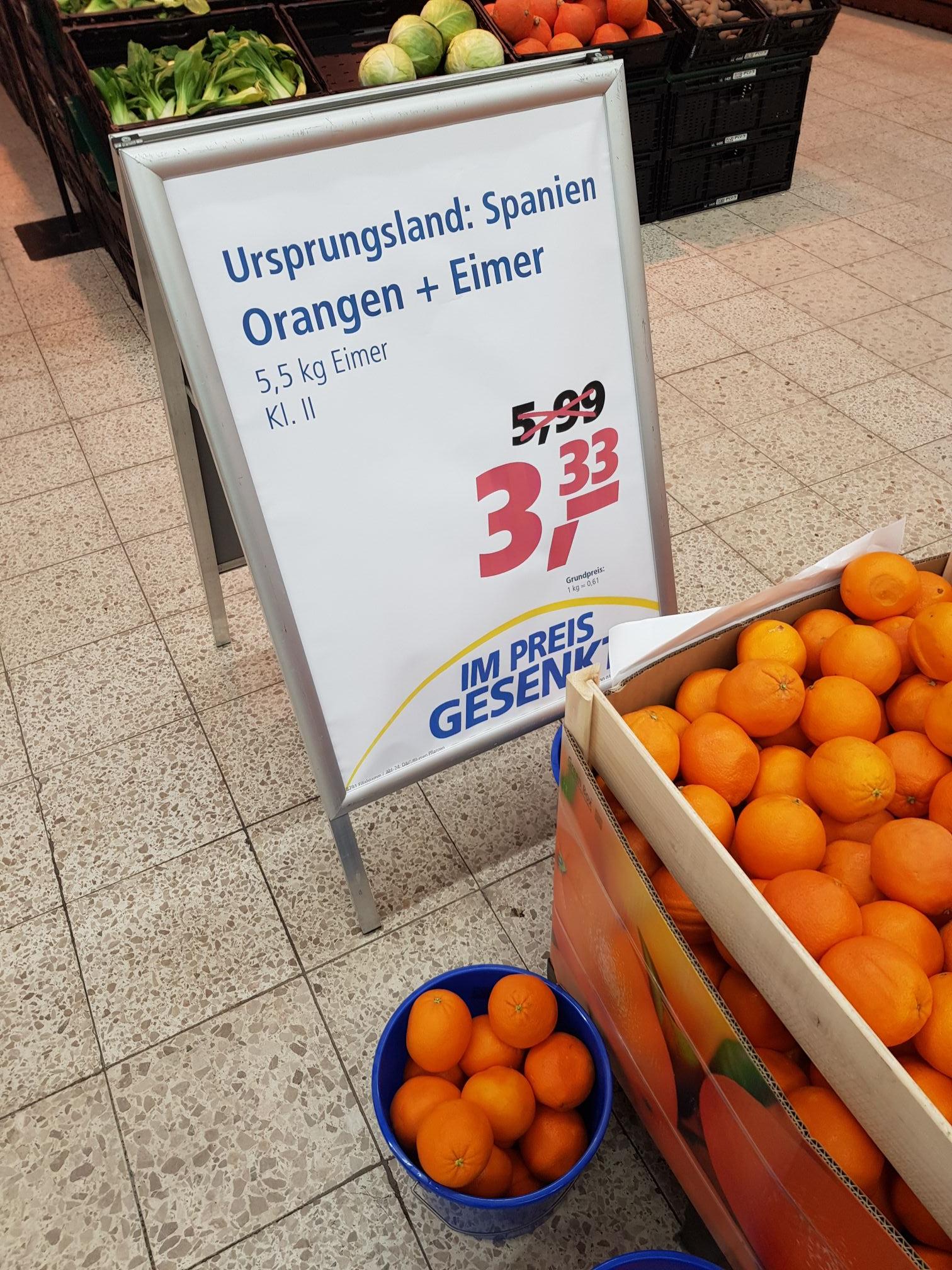 Orangen 5,5 kg Eimer Real Hamburg Oststeinbek ggf. Lokal