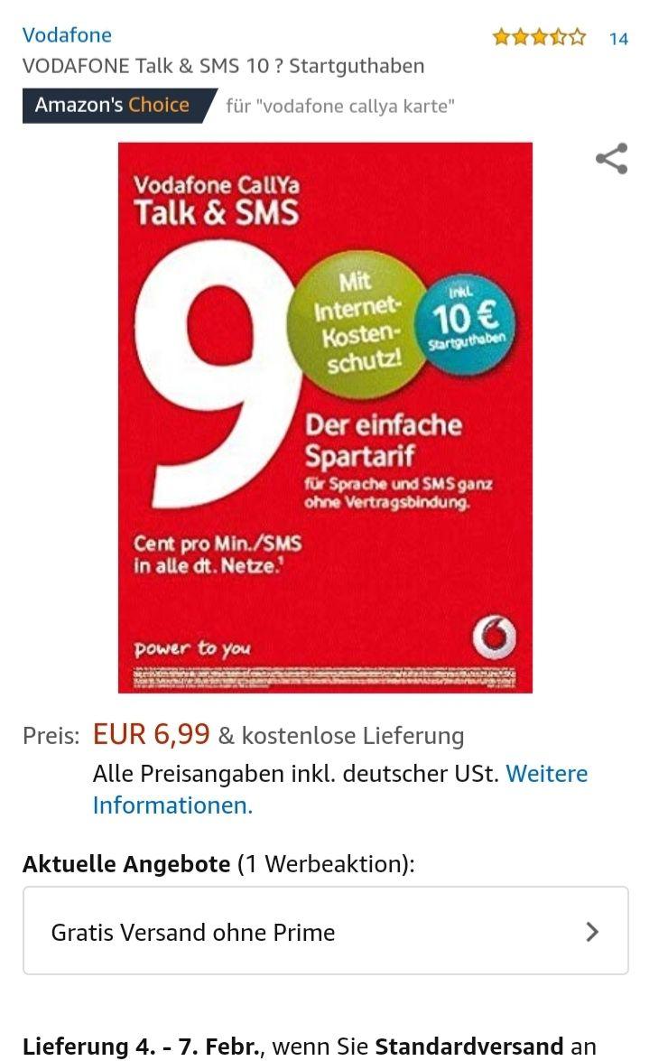 Vodafone CallYa-Prepaid-Karte Talk&SMS mit 10 Euro Startguthaben (ideal für Oma Opa und Kinder zum gelegentlichen anrufen)