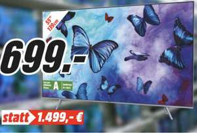 "[Lokal: Media Markt Egelsbach] Samsung GQ55Q6FNGT - 55"" QLED 4K Smart TV (VA, Edge LED, 10bit, 120Hz, Quantum Dot)   LG OLED55C8 für 1.222€"