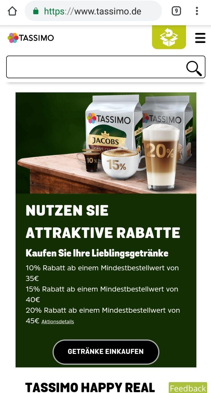 Tassimo.de bis zu 20% rabatt auf 45€ MBW