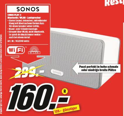 [Regional Mediamarkt Kassel] SONOS Play:3 - Multiroom Lautsprecher / Smart Speaker weiß für 160,-€