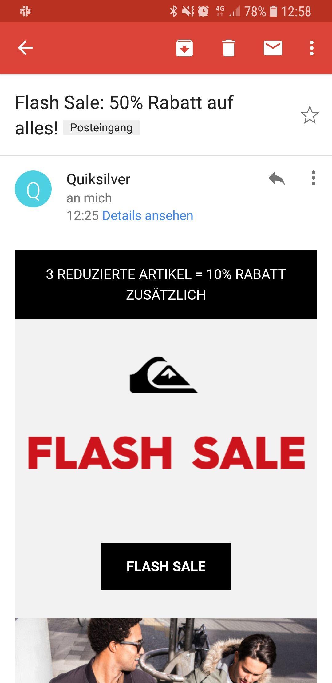 Quiksilver: 50% auf Alles & zusätzliche 10% ab 3 Teile sowie nochmal 10% mit Gutschein