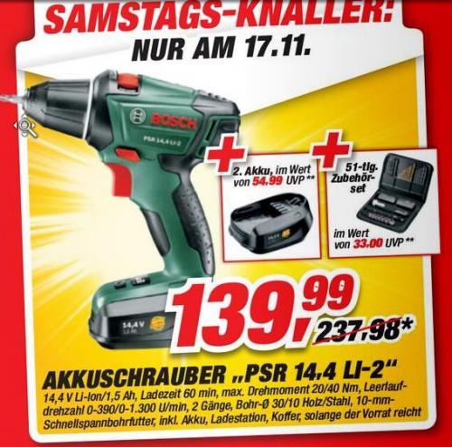[Toom/Offline] Bosch PSR 14,4 LI-2 (Koffer, 2. Akku, Zubehörset + 30 Euro Bosch-Car-Services-Gutschein) für 139,99 Euro