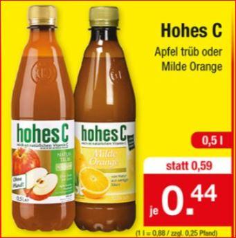 Hohes C, milde Orange oder Apfel trüb, die 0,5 Liter-Flasche für 44 Cent [Zimmermann]