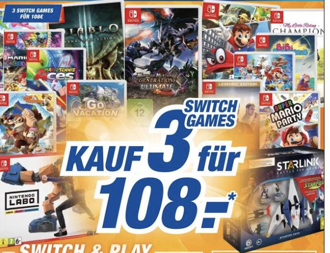 [Expert Technikmarkt Filialen] 3x Nintendo Switch Spiele für 108€ (u.a. Legend of Zelda, Super Smash Bros. Ultimate, uvm.)