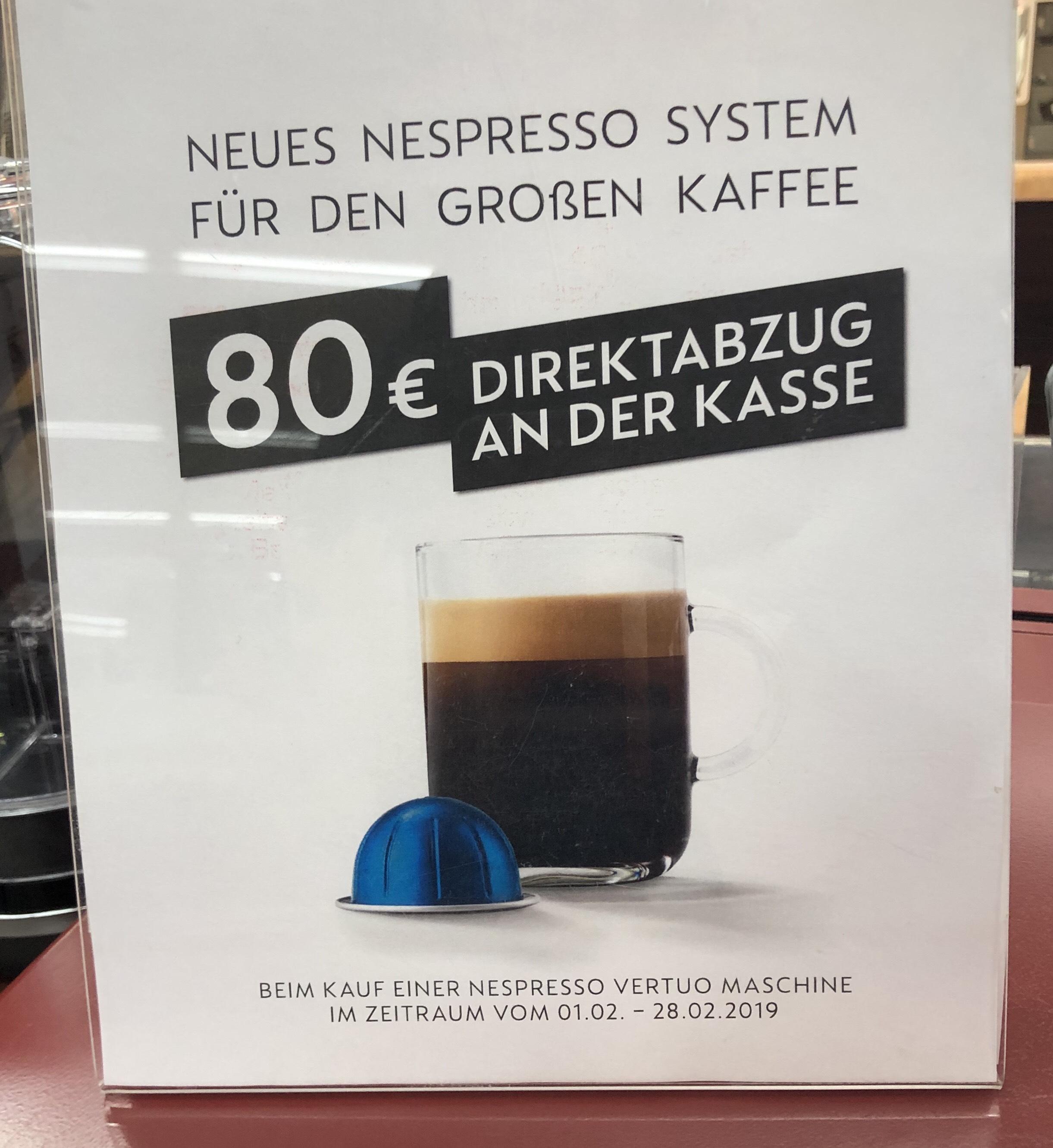 Bestpreis !! 80€ Rabatt !! Nespresso Vertuo Kapselmaschine De'Longhi oder Krupps