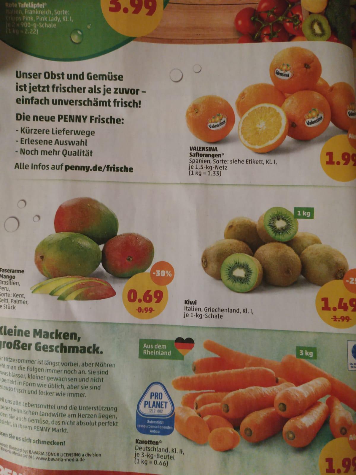 Erstmal zu Penny: ab 04.02.  09.02. Mango faserarm für 69 Cent / angereifte Avocado für 79 Cent
