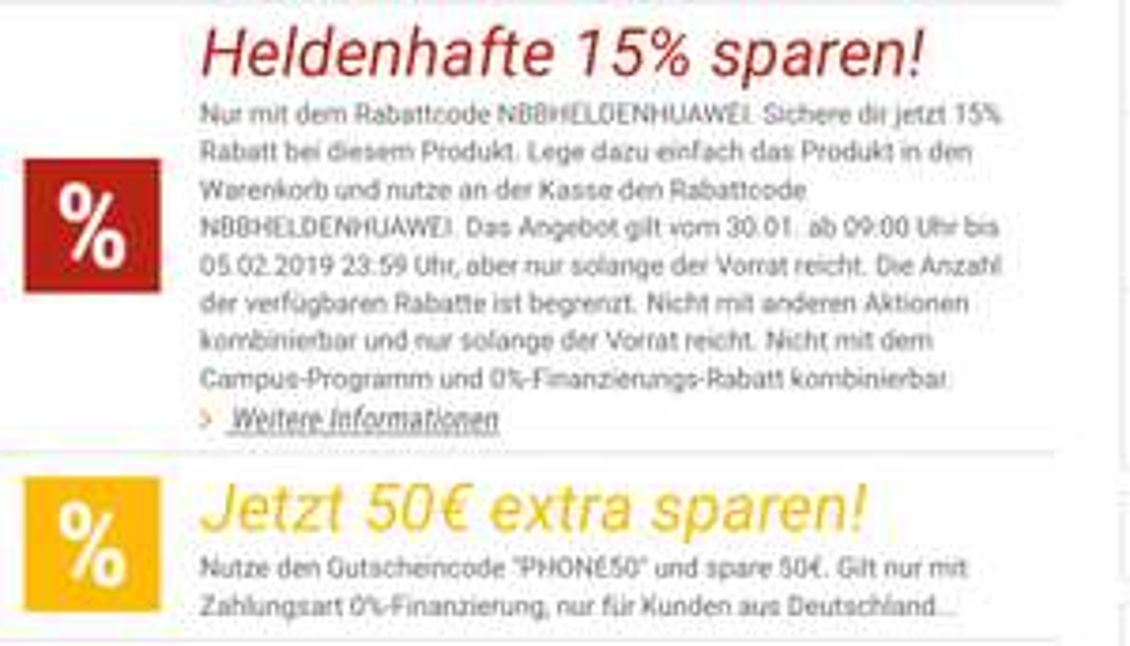 15% Rabatt auf Huawei Smartphones