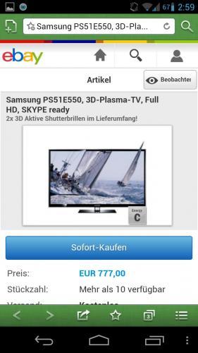 "[EBAY]: Samsung PS51E550, 3D-Plasma-TV, Full HD 51"""