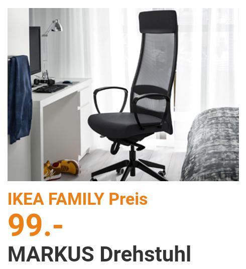 [Ikea Hannover] Drehstuhl Markus nur 99€ für Family Mitglieder + weitere Angebote