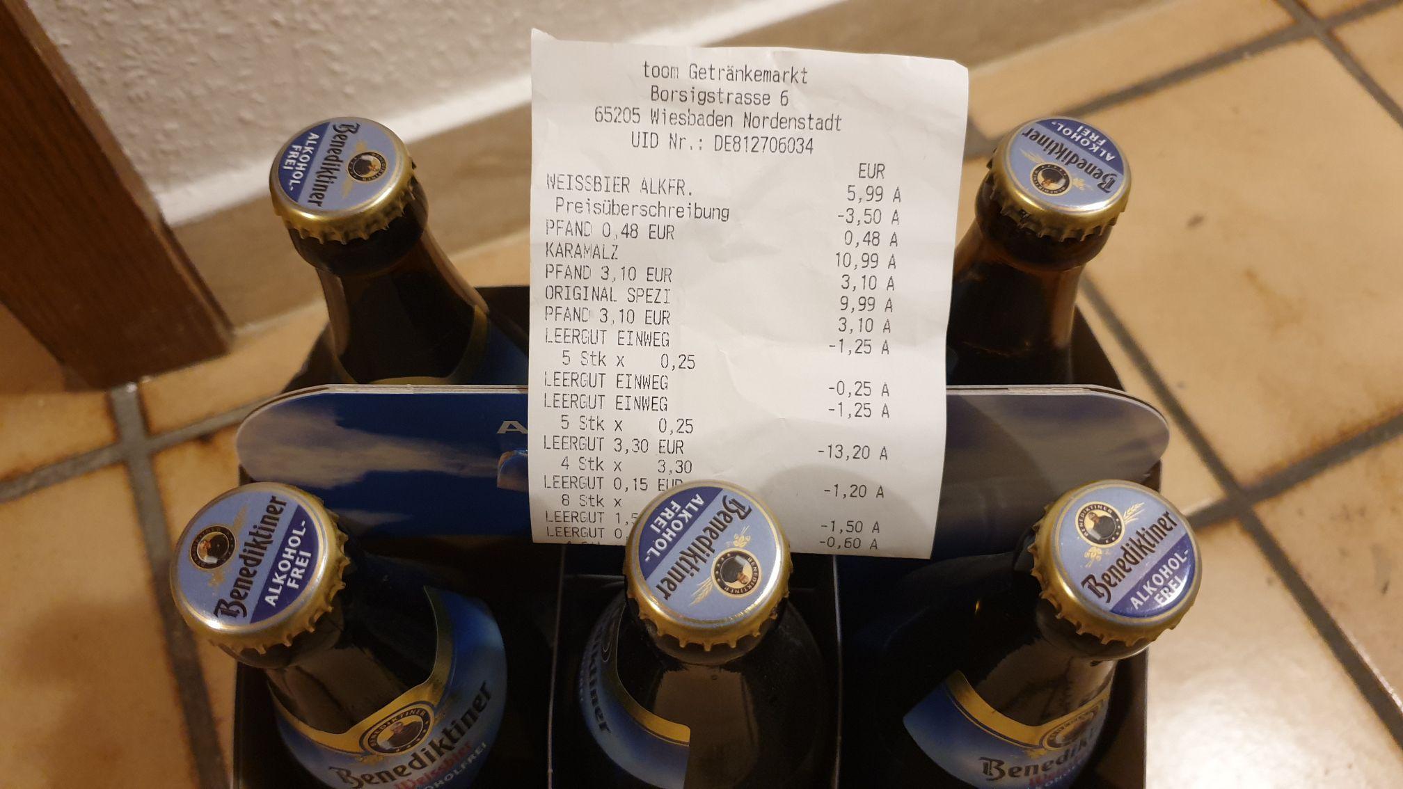 [Lokal Wiesbaden] Benediktiner Weissbier 6x 0,5 Liter / 5x 0,5 Liter plus Weizenbierglas