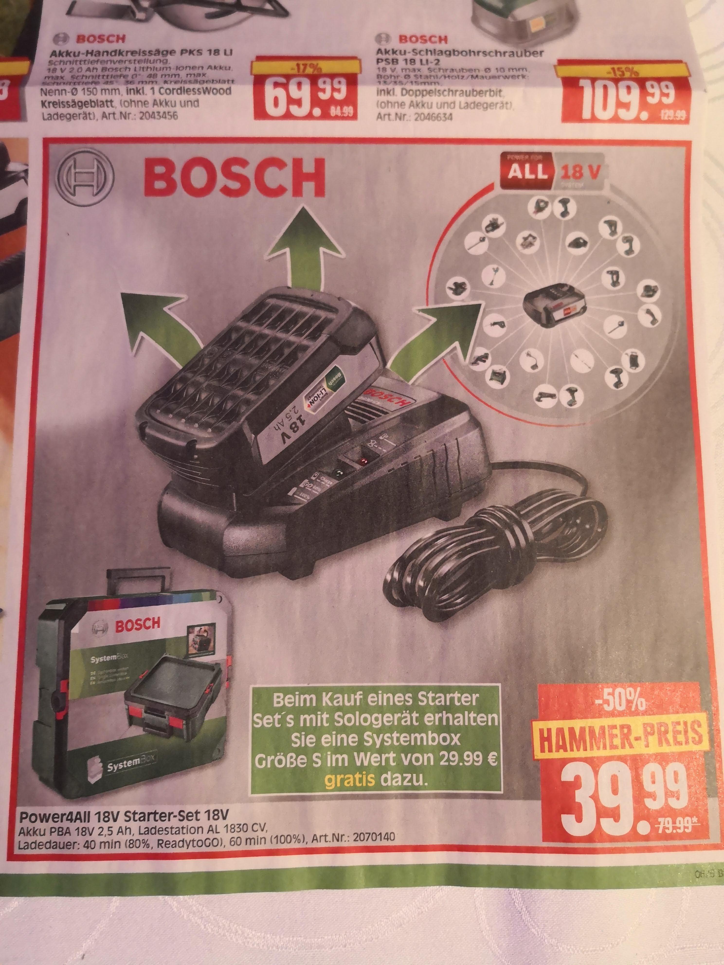 Bosch 18V 2,5AH Starterset Power4All @ Herkules Baumarkt