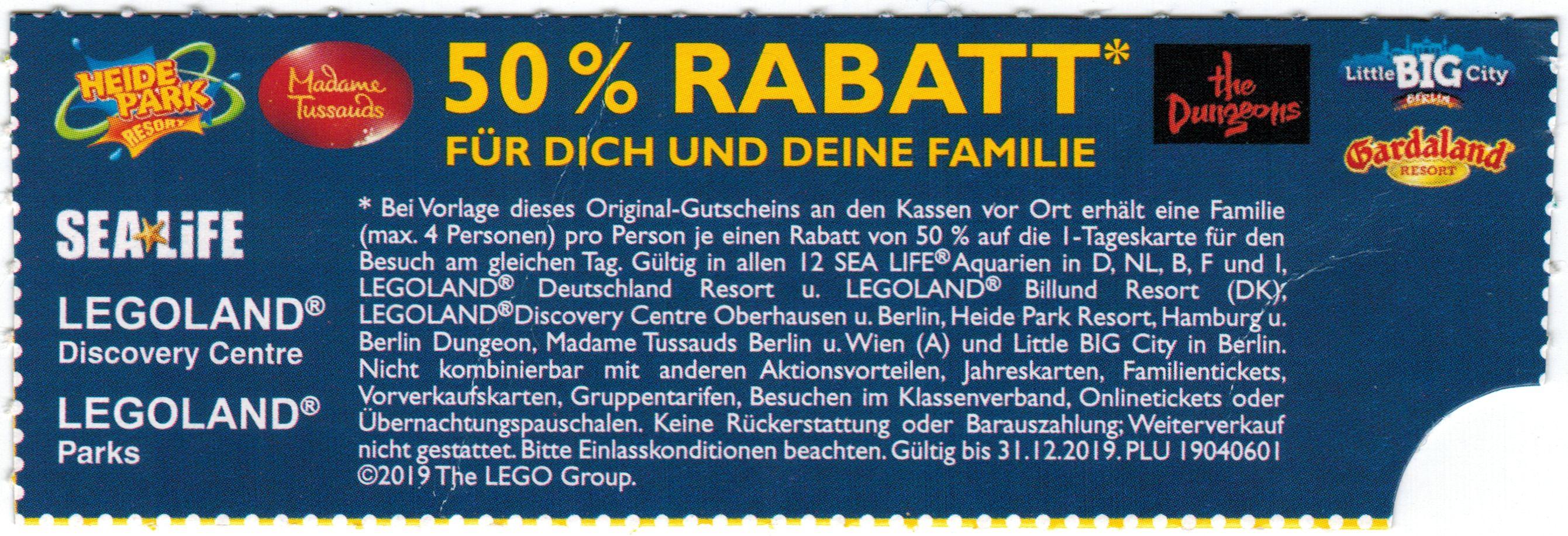 Happy Meal 50% Rabatt für Legoland, Sea Life, Heide Park, ...