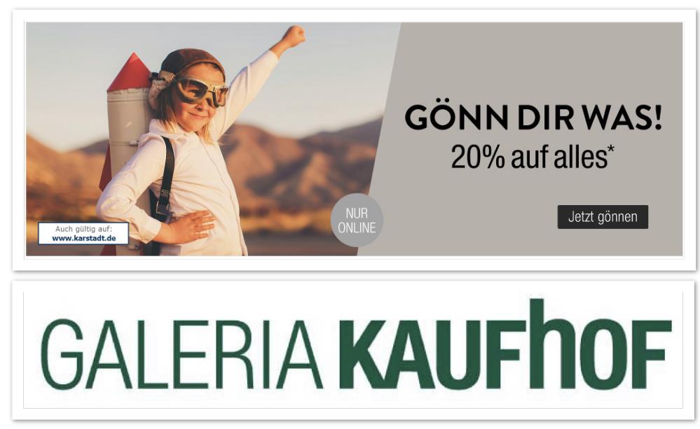 20% Rabatt auf fast alles bei Galeria Kaufhof + 10% Shoop! - nur heute (ähnlich auch bei Karstadt)
