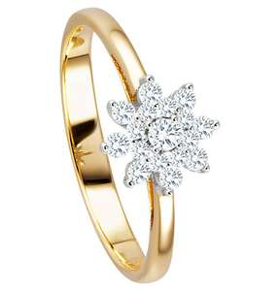 Moncara Ring 585 Gelbgold / Weißgold mit 17 Diamanten, zus. ca. 0,25 ct