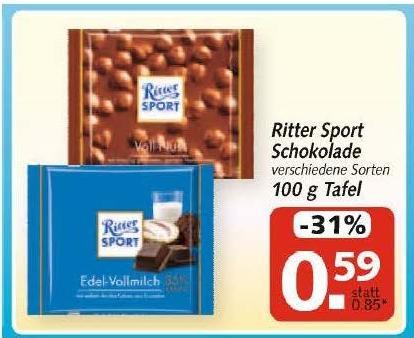HIT [offline] - Ritter Sport - Tafel zu 0,59 € = - 31 %