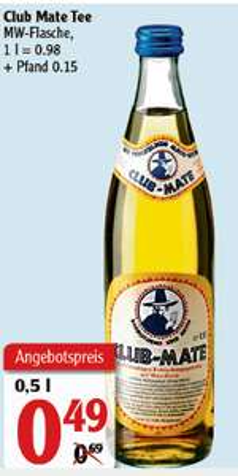 [Globus Rostock] Club Mate - 0,5l Flasche - Preis ohne Pfand (mit Pfand = 0,64 Euro)