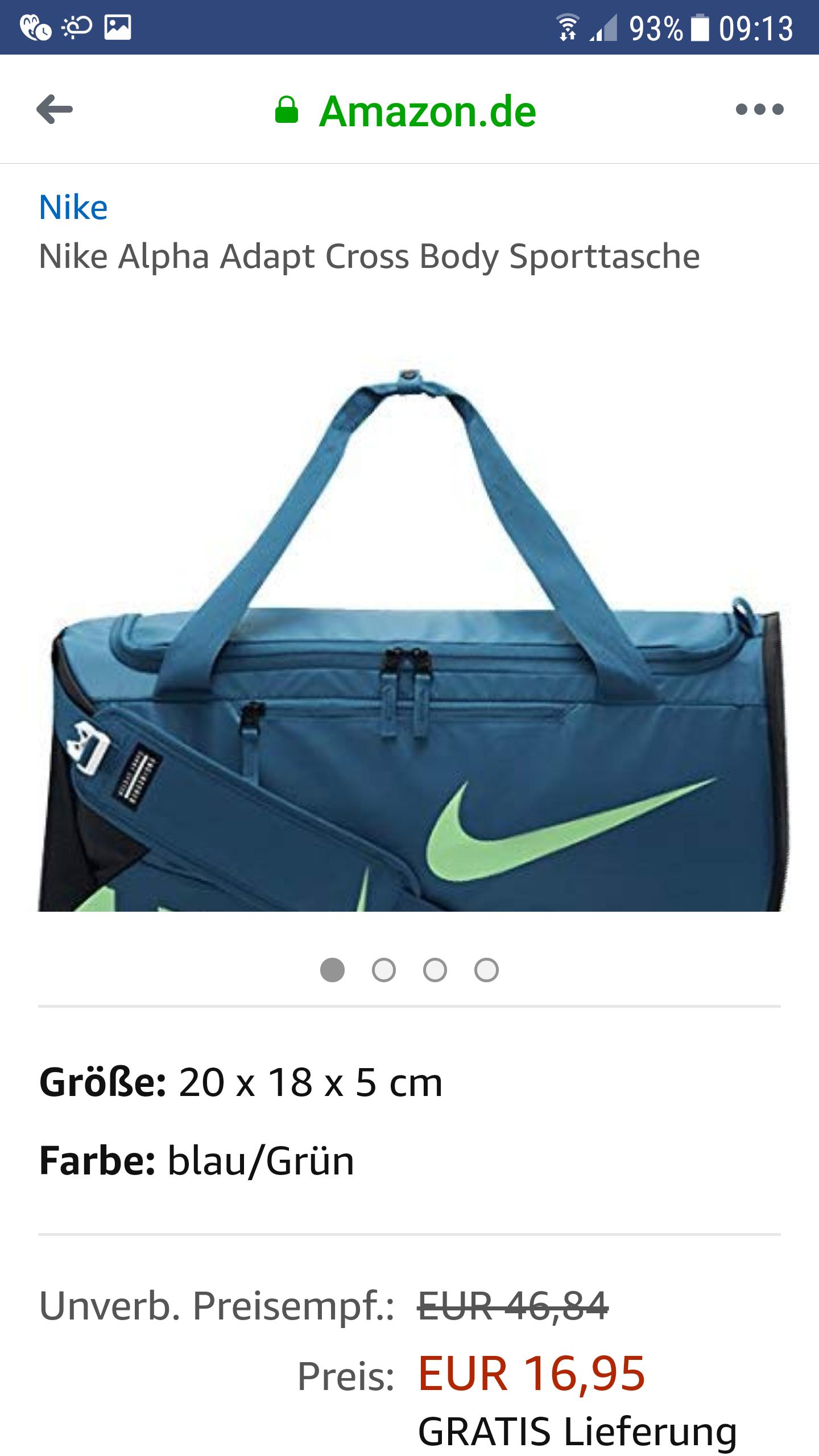 (Amazon) Nike Alpha Adapt Cross Body Sporttasche mit Prime für 16,95€